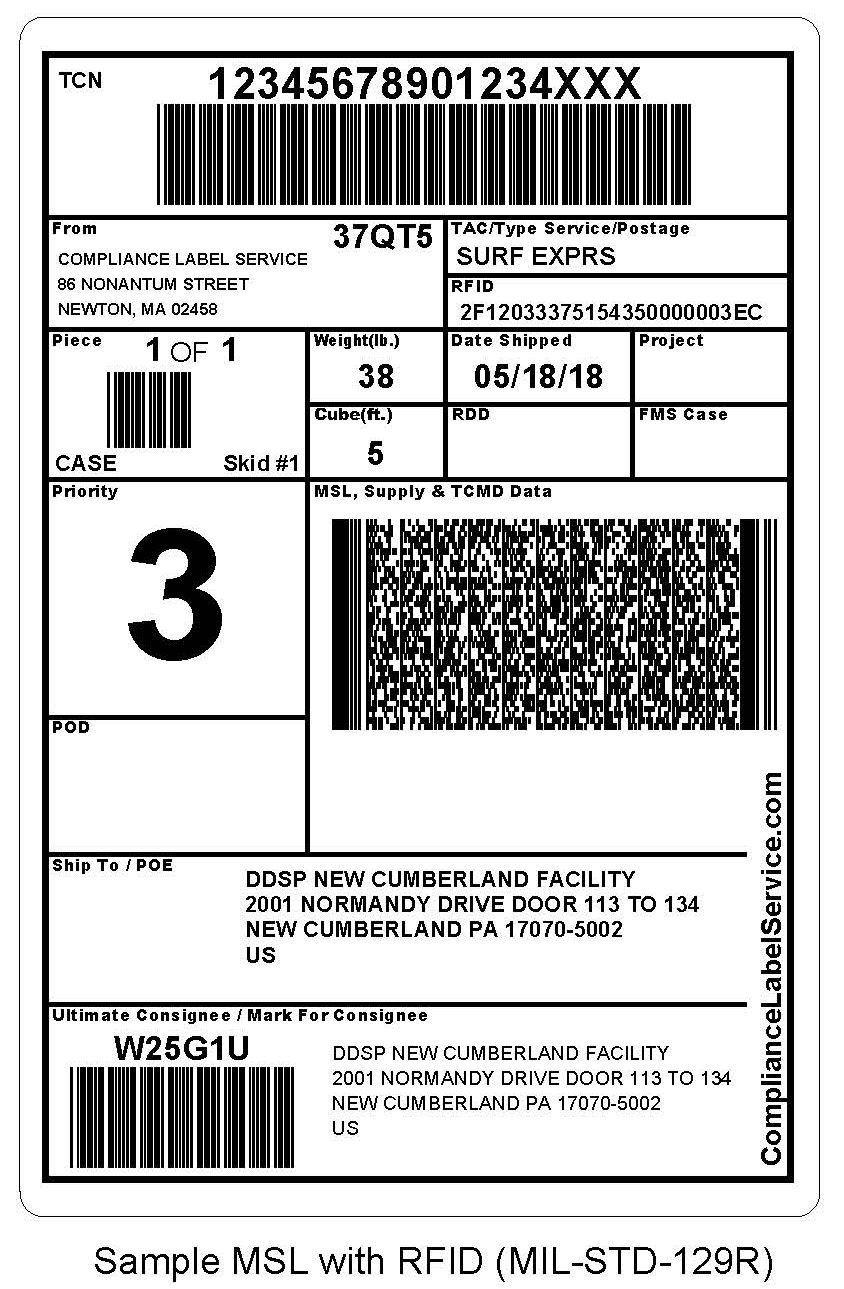 MIL-STD-129 labels and RFID - Military Shipping Label (MSL) Image